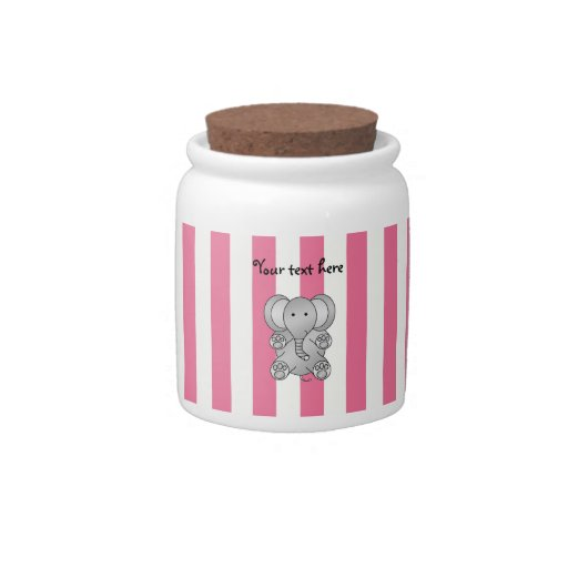 Cute elephant pink and white stripes candy dish
