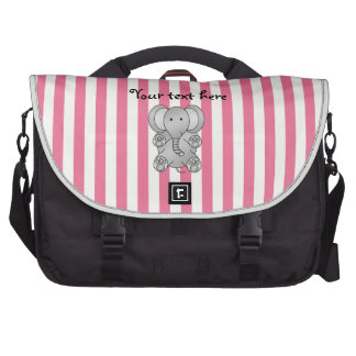 Cute elephant pink and white stripes bag for laptop