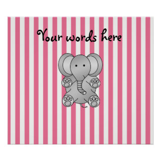 Cute elephant pink and white stripes print