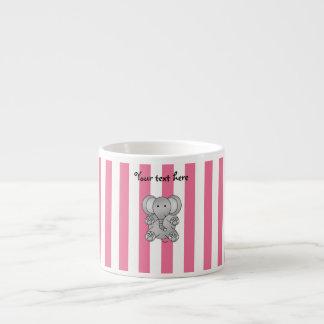 Cute elephant pink and white stripes 6 oz ceramic espresso cup