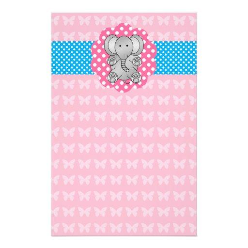 Cute elephant pink butterflies stationery paper
