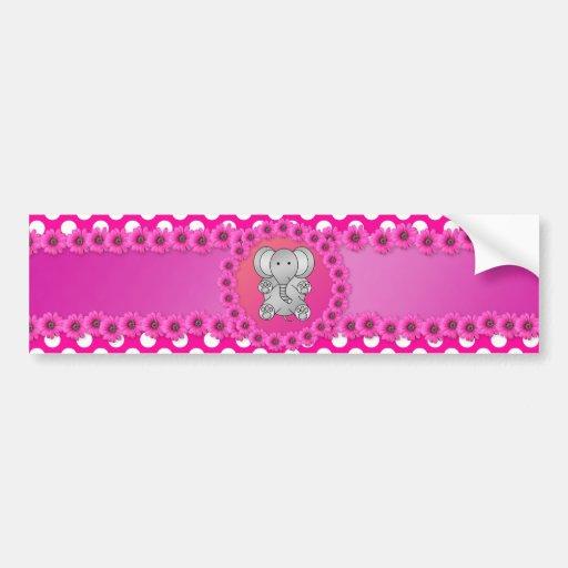 Cute elephant pink flowers car bumper sticker