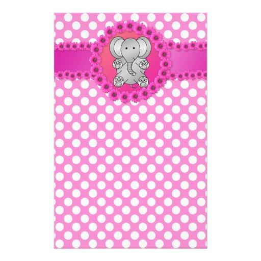 Cute elephant pink flowers custom stationery