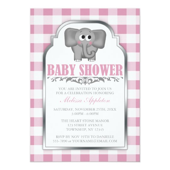 Cute Elephant Pink Gingham Baby Shower Invitations