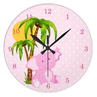 Cute Elephant Pink Polka Dots Wall Clocks