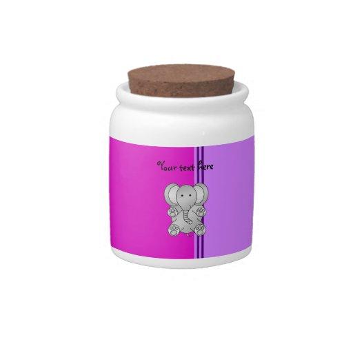Cute elephant pink purple stripes candy jar