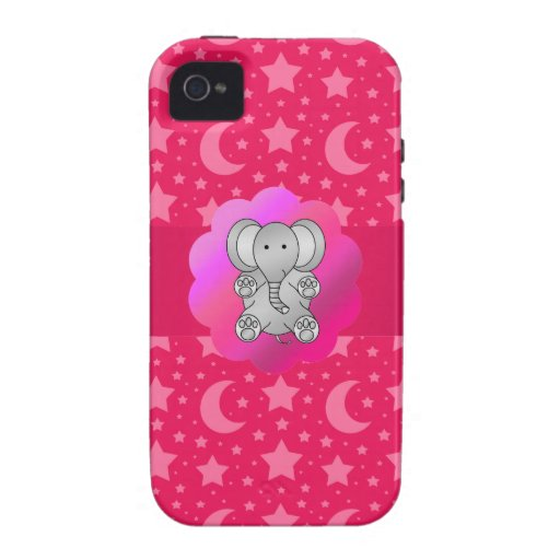 Cute elephant pink stars and moons iPhone 4/4S case