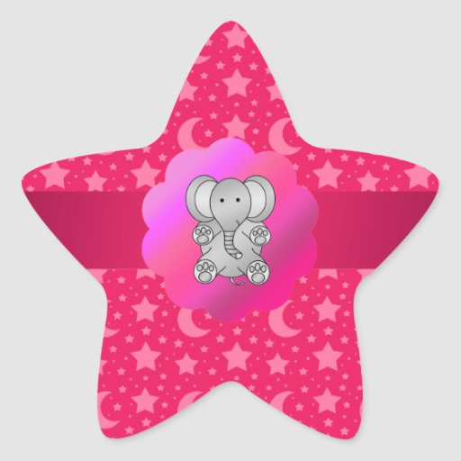 Cute elephant pink stars and moons star sticker