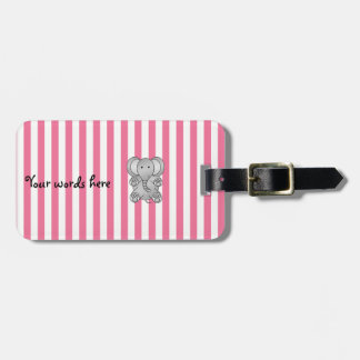 Cute elephant pink white stripes bag tag