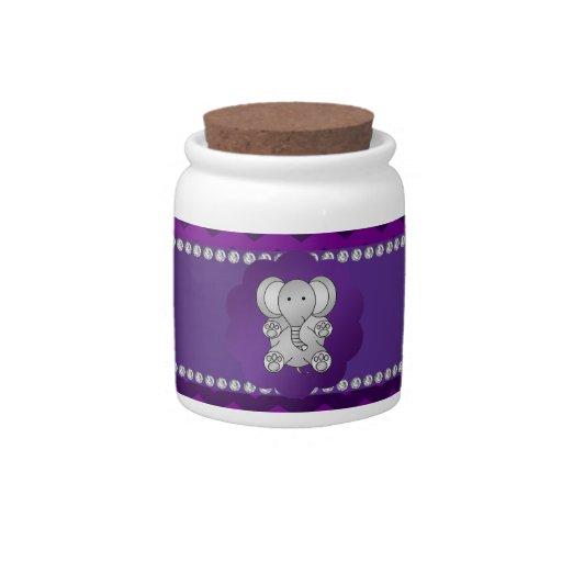 Cute elephant purple chevrons candy dish