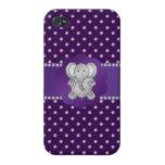 Cute elephant purple diamonds iPhone 4 covers