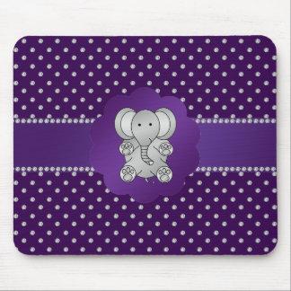 Cute elephant purple diamonds mouse pad