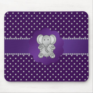 Cute elephant purple diamonds mousepads