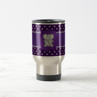 Cute elephant purple diamonds 15 oz stainless steel travel mug
