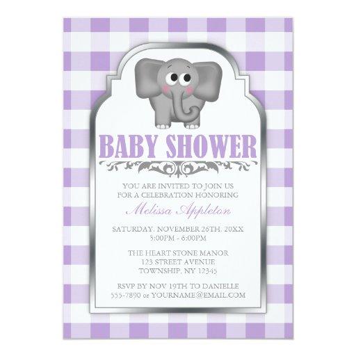 Cute Elephant Purple Gingham Baby Shower Custom Invite