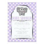 Cute Elephant Purple Polka Dot Baby Shower Announcements