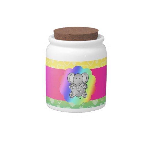 Cute elephant rainbow hearts candy dishes