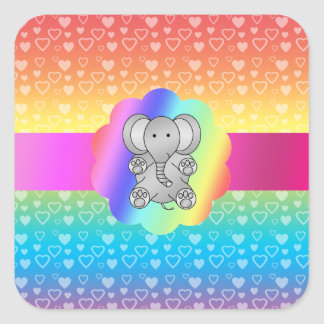 Cute elephant rainbow hearts square sticker
