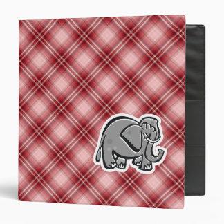 Cute Elephant; Red Plaid Binders