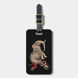Cute Elephant Riding A Tricycle Luggage Tag