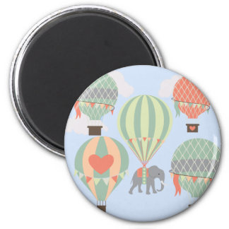 Cute Elephant Riding Hot Air Balloons Rising 2 Inch Round Magnet