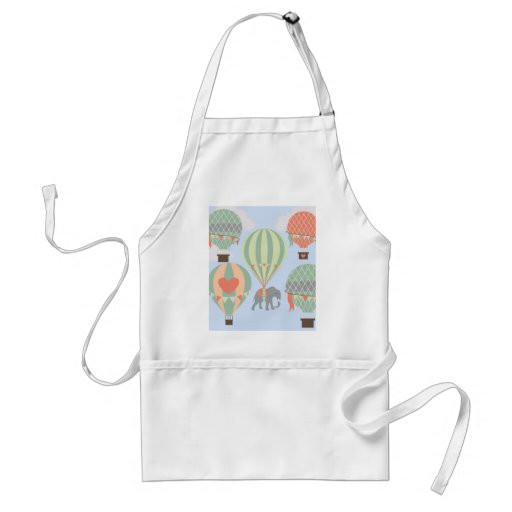 Cute Elephant Riding Hot Air Balloons Rising Adult Apron