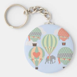 Cute Elephant Riding Hot Air Balloons Rising Basic Round Button Keychain