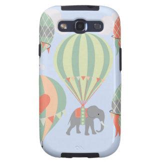 Cute Elephant Riding Hot Air Balloons Rising Samsung Galaxy SIII Case