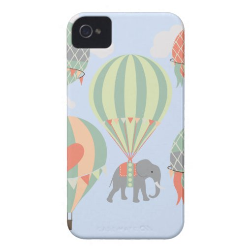 Cute Elephant Riding Hot Air Balloons Rising iPhone 4 Case-Mate Cases