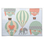 Cute Elephant Riding Hot Air Balloons Rising Cloth Place Mat