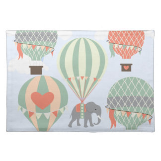 Cute Elephant Riding Hot Air Balloons Rising Cloth Placemat
