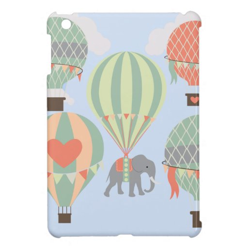 Cute Elephant Riding Hot Air Balloons Rising Cover For The iPad Mini