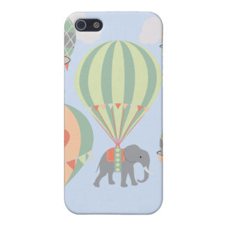 Cute Elephant Riding Hot Air Balloons Rising iPhone SE/5/5s Cover