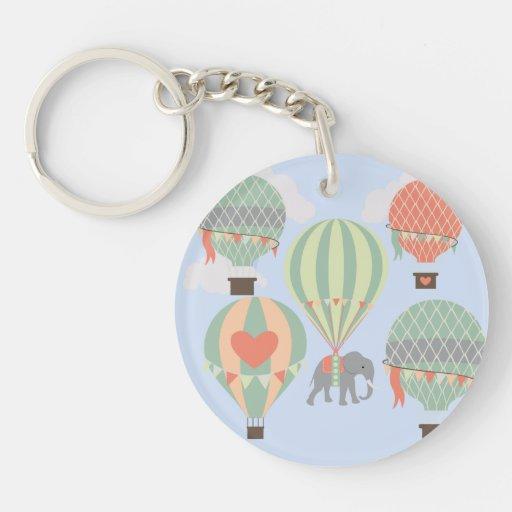 Cute Elephant Riding Hot Air Balloons Rising Keychains