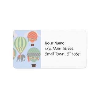Cute Elephant Riding Hot Air Balloons Rising Label