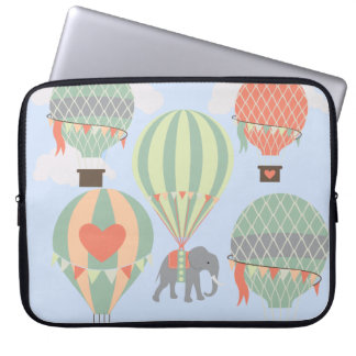 Cute Elephant Riding Hot Air Balloons Rising Laptop Computer Sleeve