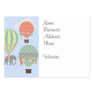 Cute Elephant Riding Hot Air Balloons Rising Large Business Card