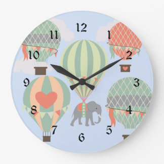 Cute Elephant Riding Hot Air Balloons Rising Large Clock