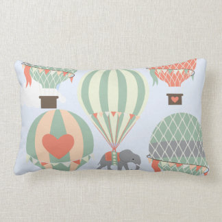 Cute Elephant Riding Hot Air Balloons Rising Lumbar Pillow