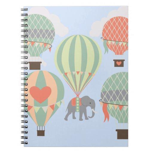 Cute Elephant Riding Hot Air Balloons Rising Spiral Note Book