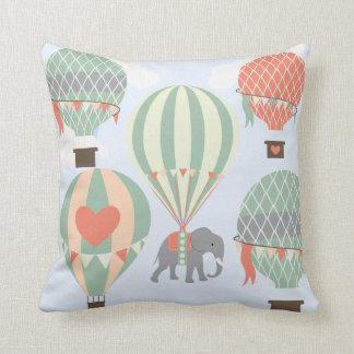 Cute Elephant Riding Hot Air Balloons Rising Throw Pillows