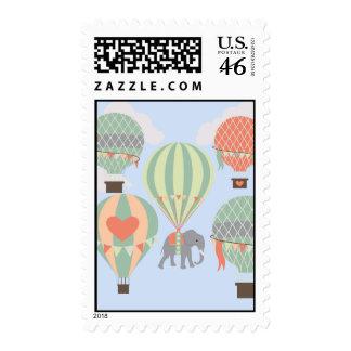 Cute Elephant Riding Hot Air Balloons Rising Stamp