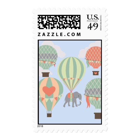 Cute Elephant Riding Hot Air Balloons Rising Postage