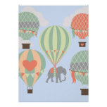 Cute Elephant Riding Hot Air Balloons Rising Poster