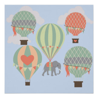 Cute Elephant Riding Hot Air Balloons Rising Poster
