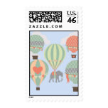 Cute Elephant Riding Hot Air Balloons Rising Stamp