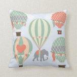 Cute Elephant Riding Hot Air Balloons Rising Throw Pillow