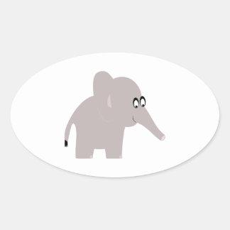 Cute Elephant Oval Sticker