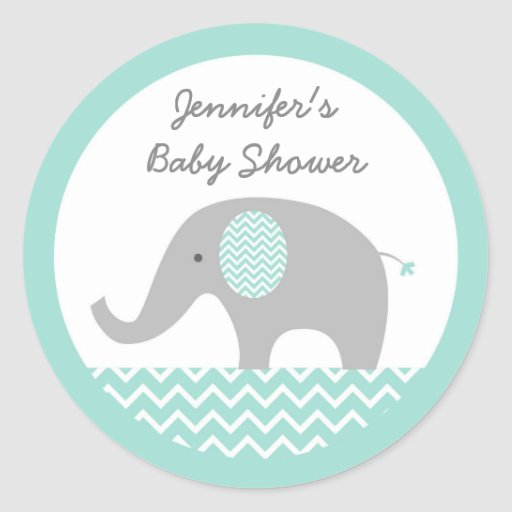 Cute Elephant Stickers Mint Green & Grey