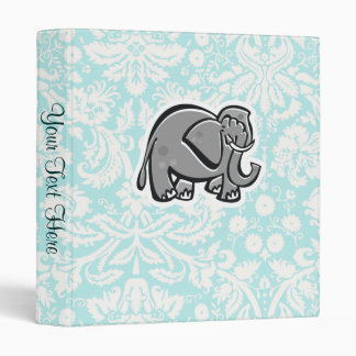 Cute Elephant; teal Vinyl Binder